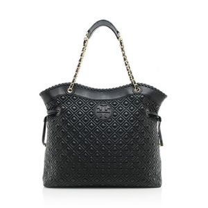 Leather Marion Black Quilted Tory Burch Tote